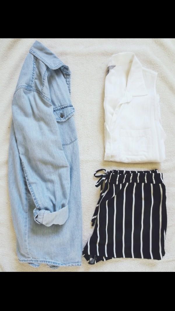 shirt high waisted blue shorts shorts blue stripes