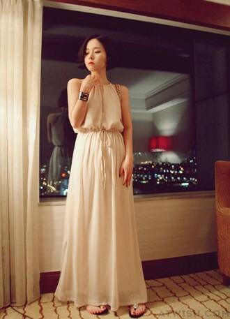 dress chiffon dress v neck dress straps halter dress backless dress