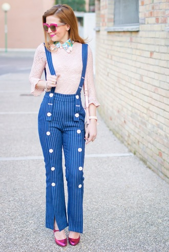 fashion and cookies blogger sunglasses top t-shirt pants bag jewels shoes blue pants pink top spring outfits pumps suspenders