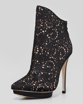 Alice   Olivia Denby Laser Cut Calf Hair Bootie - Neiman Marcus