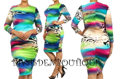 plus size multi color spring print midi dress