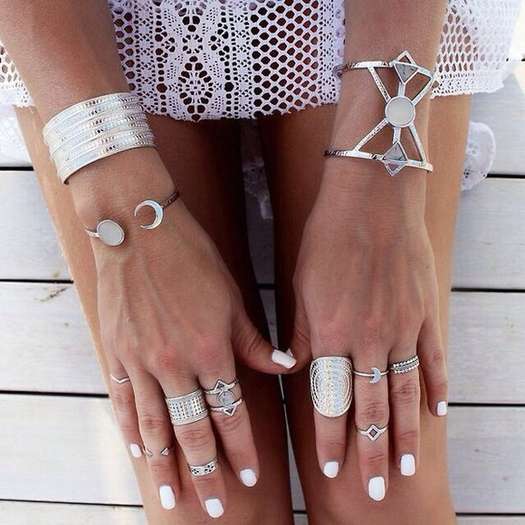 jewels ring silver rings silver jewelry moon braclets shine ring bracelets silver knuckle ring