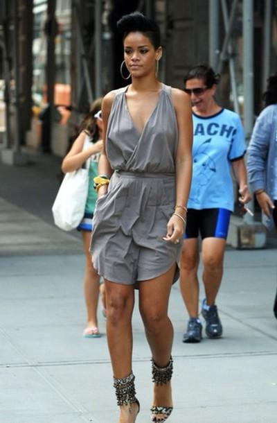 dress, grey dress, rihanna, casual dress