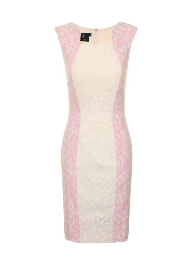 Sorbet Contrast Panel Lace Dress Baby Pink / Cream from Hybrid Fashion