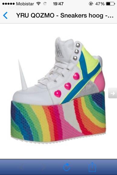 unicorn white rainbow shoes