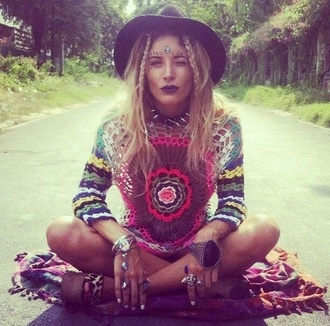 sweater boho hippie rainbow indie