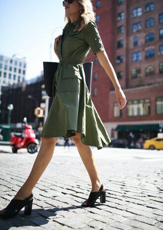 dress green dress tumblr midi dress olive green sandals sandal heels high heel sandals black sandals bag black bag shoes