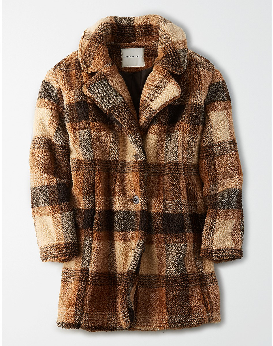 AEO  Faux Sherpa Plaid Coat