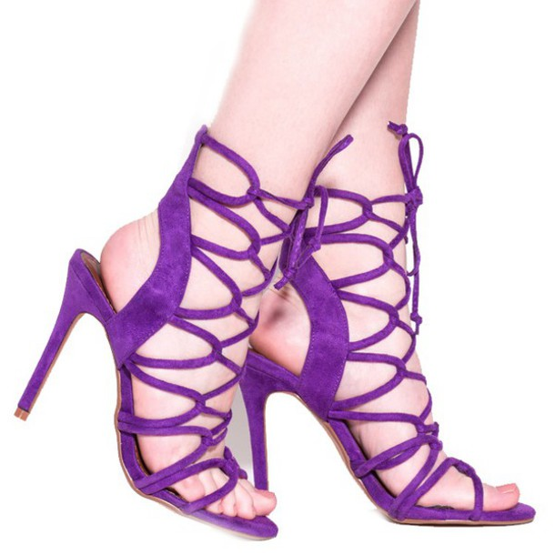 Shoes: sandals, heels, purple, purple heels, purple sandals ...