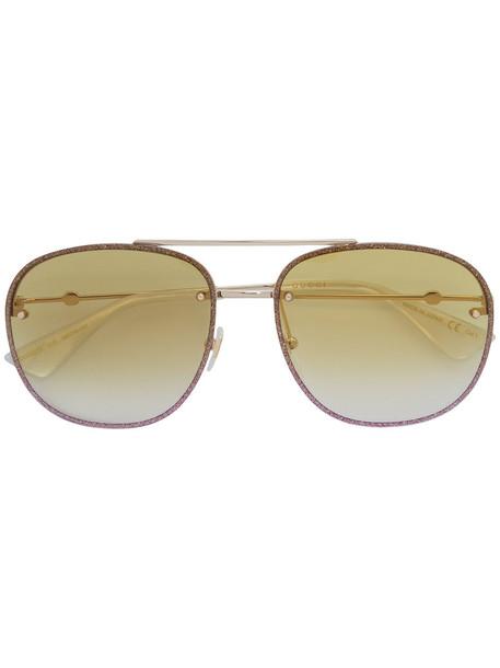 Gucci Eyewear - aviator sunglasses - women - metal/Acetate - 62, Grey, metal/Acetate in metallic