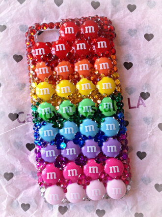 jewels rainbow iphone case iphone 4s case iphone 5 case cases studded iphone case cellphone case phone cover rhinestones bling-bling bling candy candy colours kawaii decoration japanese earphones