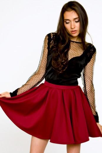 Burgundy Scuba Skirt- $44