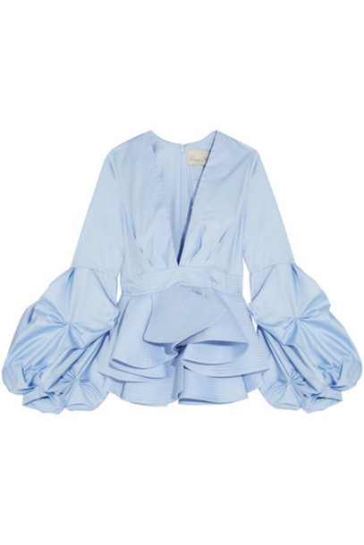 5476e97408ec30 Johanna Ortiz Johanna Ortiz - St. Barts Cotton-poplin Peplum Top - Light  blue