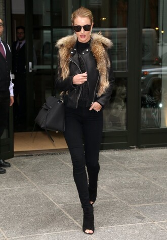 fur booties sunglasses mesh top mesh rosie huntington-whiteley all black everything spring outfits shoes
