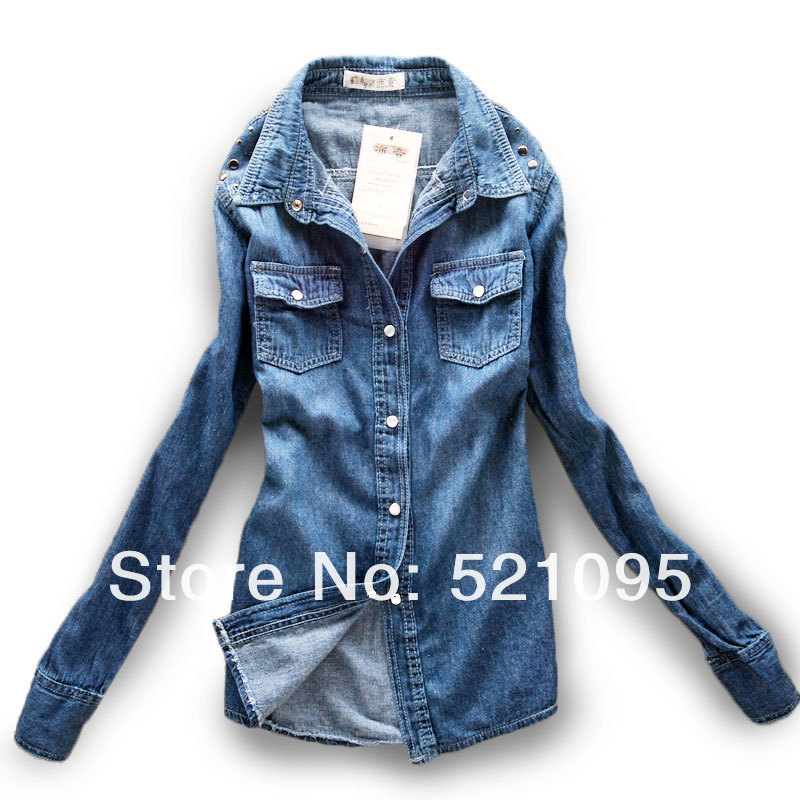 2013 Hote Selling!! Women New Style Fashion Medium Long Denim Shirt Ladies Demin Shirt With Crystal Button And Hot Chip-in Denim Clothings from Apparel & Accessories on Aliexpress.com