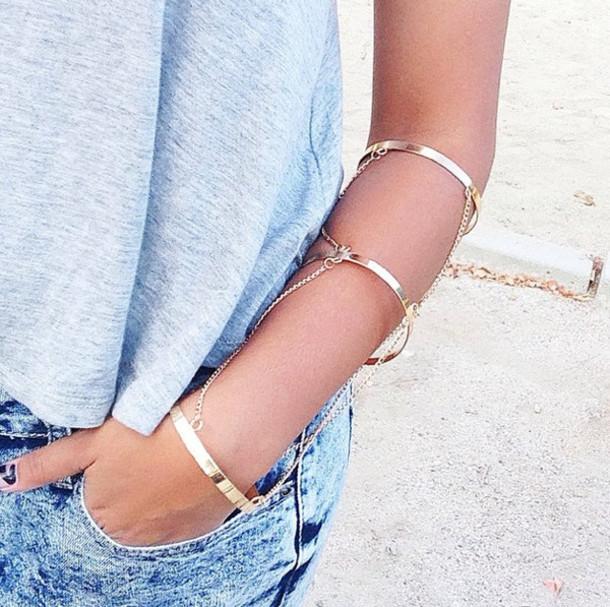 jewels bracelets gold arm cuffs god bracelets triple chain arm
