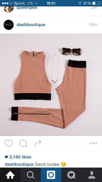 top crop tops outfit outfit idea summer outfits cute outfits party outfits spring outfits sunglasses accessories summer accessories two-piece leggings pants high waisted necklace jewelry nude halter crop top