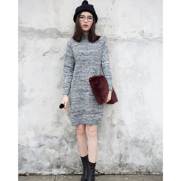 36bd36d5c2 dress mindy grey mock neck sweater dress mock neck dress grey sweater dress  sweater dress cute