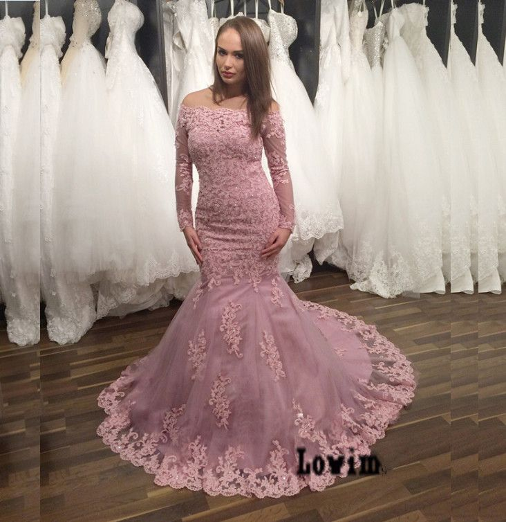 Trouwjurken 2016 Pink Long Sleeves Colored Wedding Dresses Tulle ...
