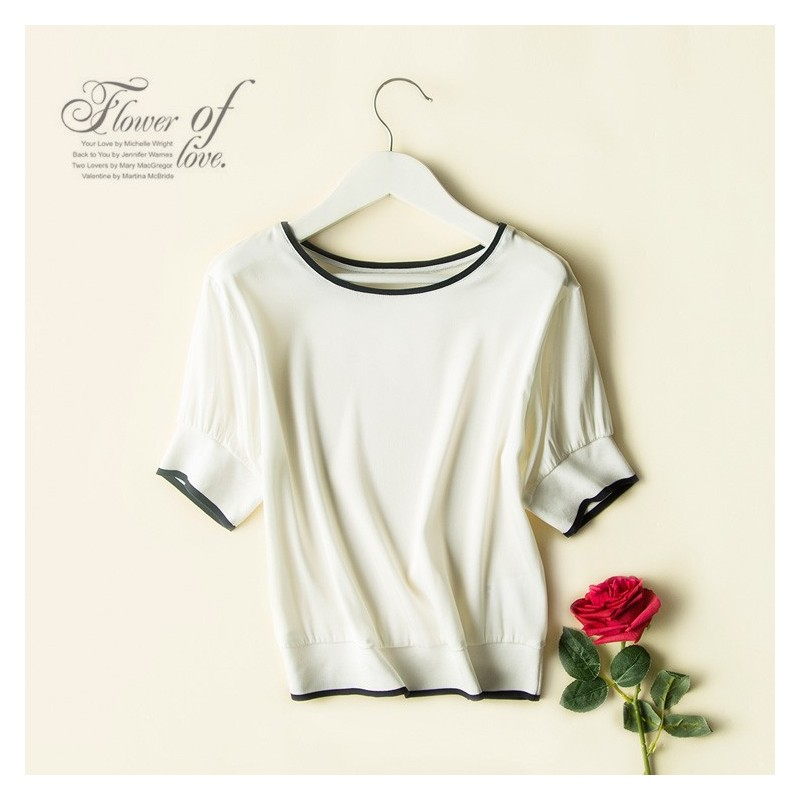 Oversized Solid Color Mulberry Silk White Summer Fancy Short Sleeves Silk Top T-shirt - Lafannie Fashion Shop