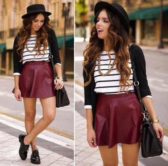 black blazer skirt leather purse black handbag, burgundy skirt, skater skirt,