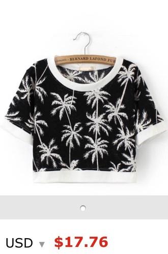 top black crop tops palm tree print