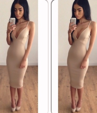 dress beige v neck dress v neck v-neck dress v-neck midi dress midi camel