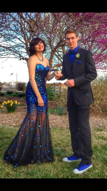 dress blue black prom long pretty prom dress dress