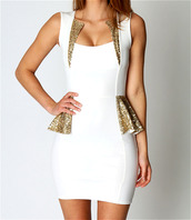 dress,white dress,gold sparkle,gold,white and gold dress,gold and white dress,peplum dress,peplum,white peplum dress,birthday dress,glitter dress,classy,sexy dress,clothes,party,style,fashion,bodycon,glitter,white,gossip girl,gold sequins,peplum skirt,sparkle,sequin dress,bodycon dress,sleeveless dress,mini dress,tight-fitting dress,gold dress,tight dresses,slim dress