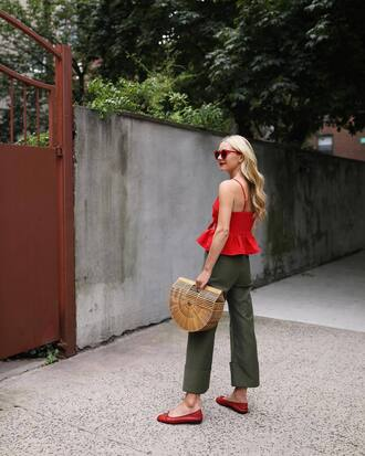 top peplum top tumblr red top peplum pants khaki khaki pants cropped pants bag basket bag shoes flats sunglasses