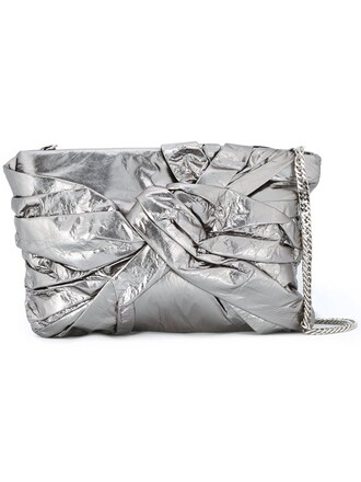 metal women bag shoulder bag pouch grey metallic