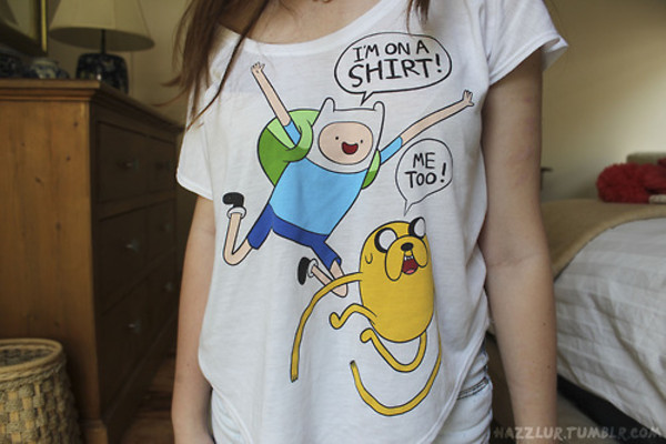 t-shirt adventure time adventure time shirt cartoon t-shirt dress oversized white bright colorful