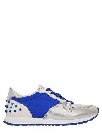 metallic mesh sneakers leather silver blue shoes