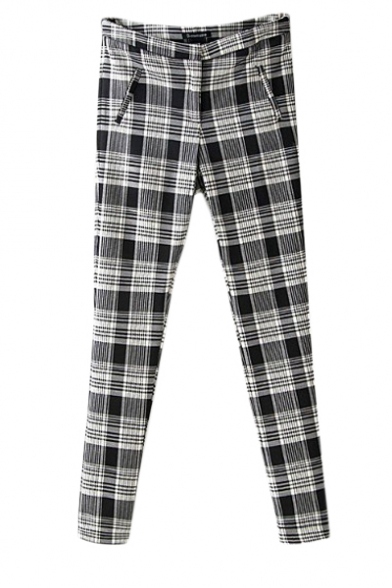 Mono checked zipper fly skinny pants with slip pocket