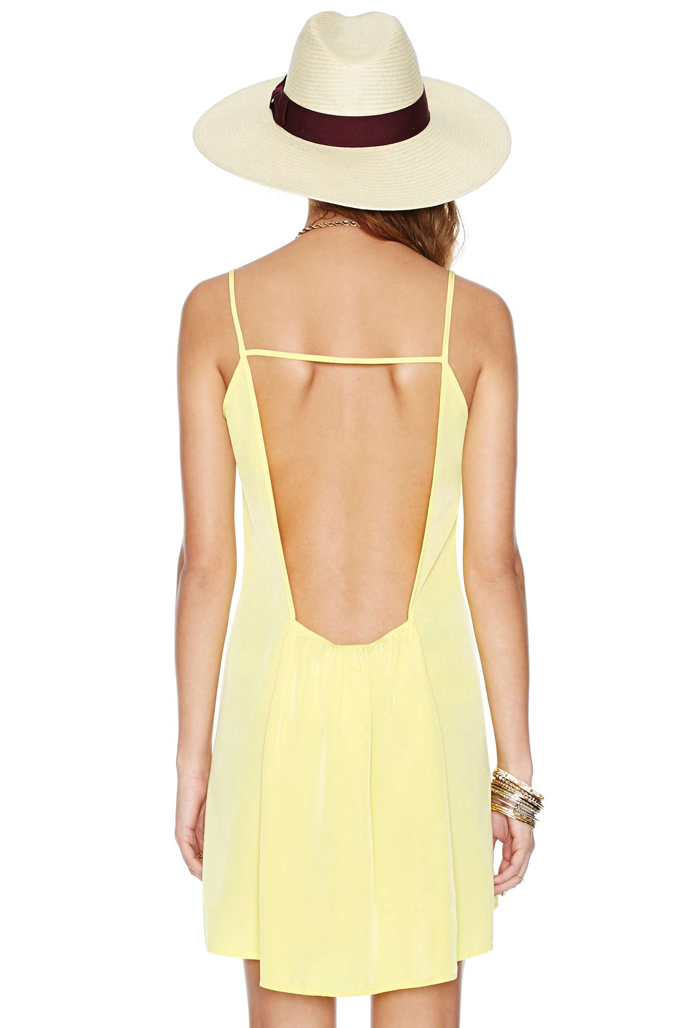 Yellow Deep V-neckline and Square Cutout Back Dress - Sheinside.com