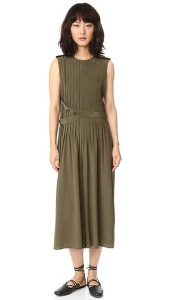Tibi Pintucked Silk Jumpsuit - Loden Green