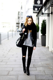 flirting with fashion,blogger,jacket,black ripped jeans,grey sweater