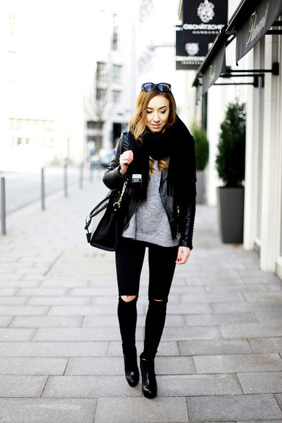 flirting with fashion blogger jacket black ripped jeans grey sweater