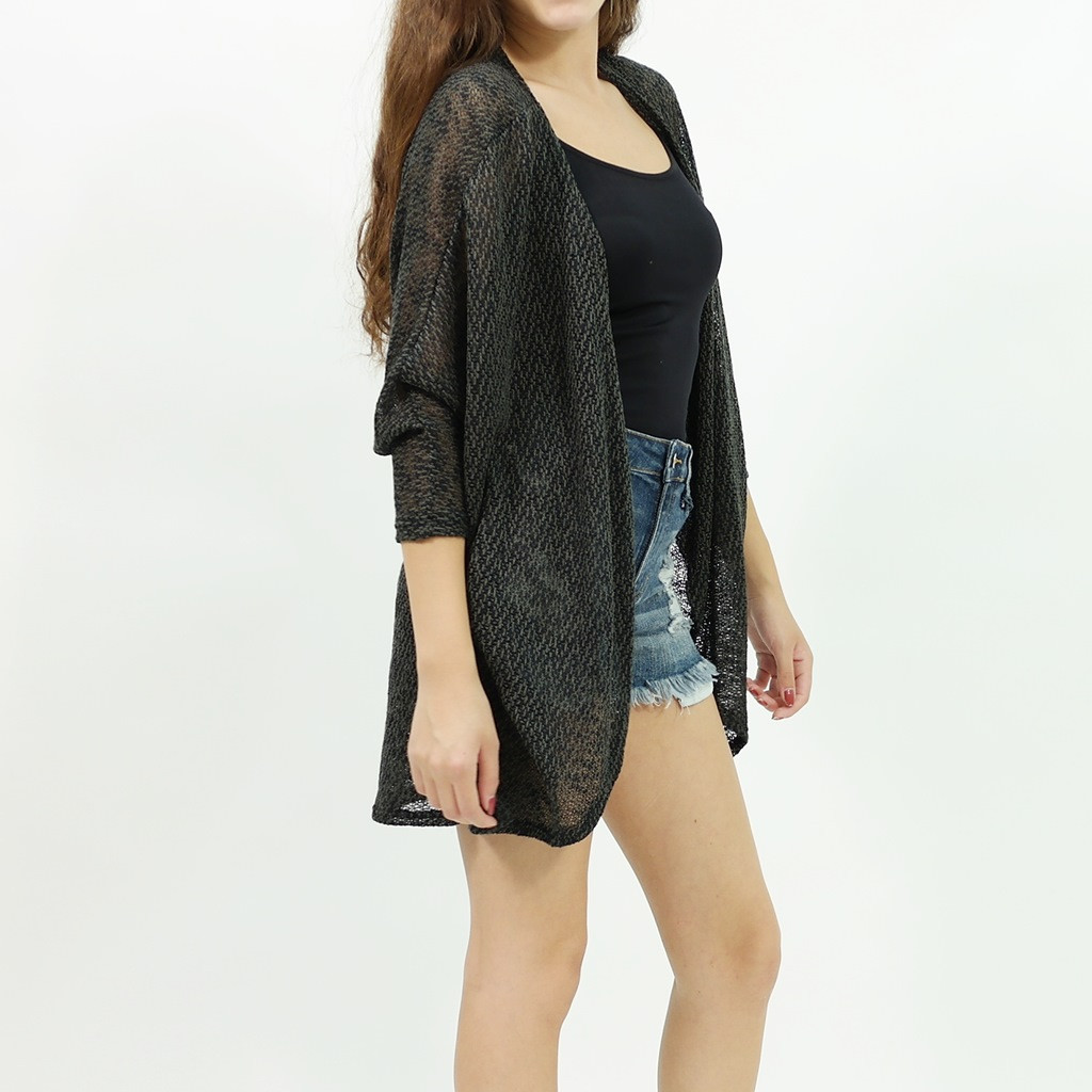 sweater 3/4 sleeve open long cardigan black