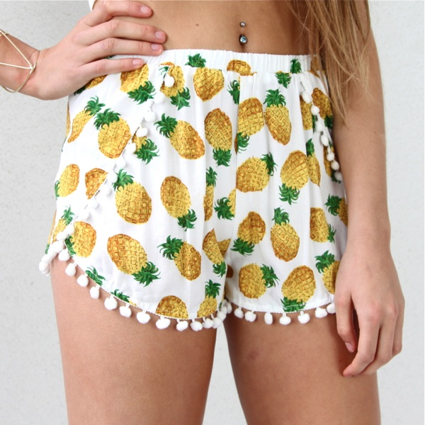 Festival Pineapple Prints Pom Pom Hem Wrap Crossover Beach Shorts 6 8 10 12   eBay