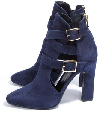 booties cut out ankle boots blue boots blue suede boots