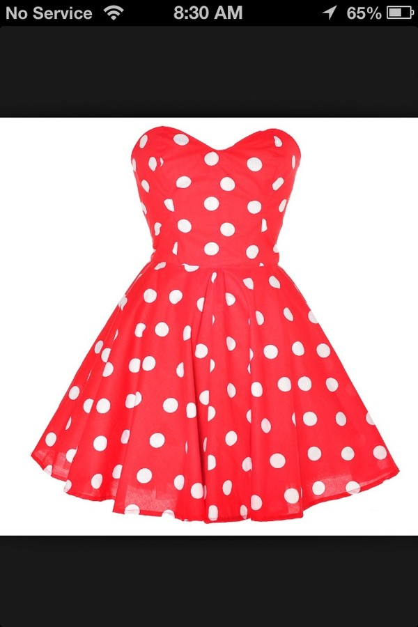 Buy red dress ith white polka dots