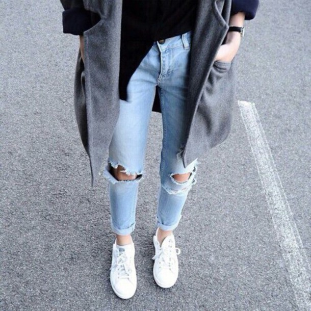 Jeans light washed denim acid wash boyfriend jeans knee hole jeans ripped jeans large coat ...