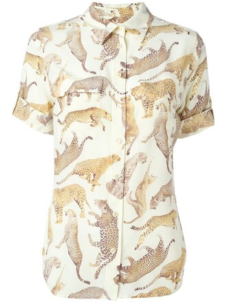 shirt women nude print silk top