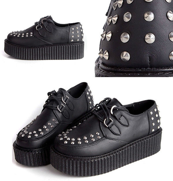 Hi Quanlity Leather Punk Rock Rockabilly Ripple Creeper Platform Stud Spike Stud | eBay