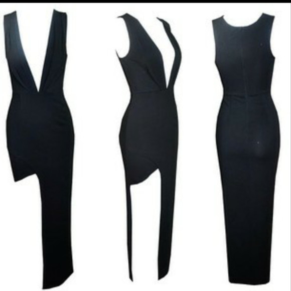 dress black maxi dress split maxi split dress sexy dress sexy dress vneckblackdress deep v neck deep v neck dress