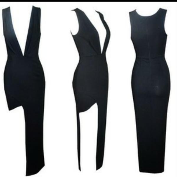 dress black maxi dress split maxi slit dress sexy party dresses sexy dress vneckblackdress plunge v neck v neck dress