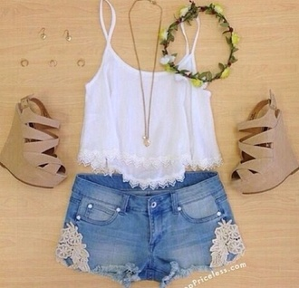 shoes wedges heels shorts crop tops cute cute high heels woman's clothing shirt hat