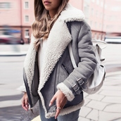 coat,outfit made,jacket,fur,fleece,winter outfits,fall outfits,grey,beige,tumblr outfit