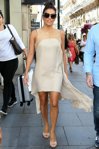 dress nude sandals cannes eva longoria summer dress